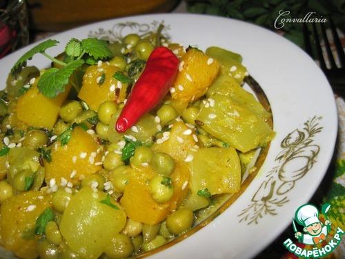Цуккини с тыквой и зеленым горошком – кулинарный рецепт