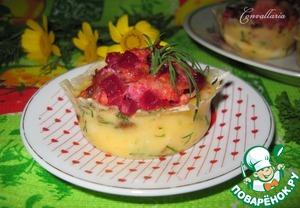 """Рецепт Сырные """"корзинки"""" с салатом из курицы и овощей"""