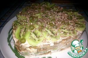 Рецепт Пряничный тортик с бананом и киви
