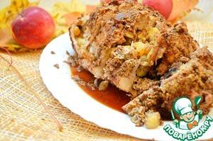 Рецепт Рулет из свинины с яблоками и сухофруктами
