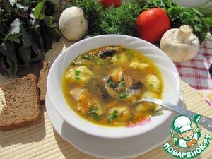Buckwheat soup with mushrooms and potato dumplings
