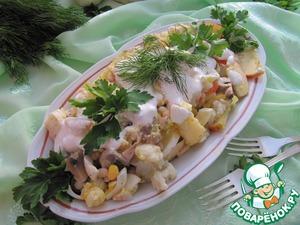 Рецепт Салат из фасоли и цветной капусты с шампиньонами