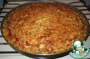 Рецепт Мясо, запечённое с овощами, рисом и сыром