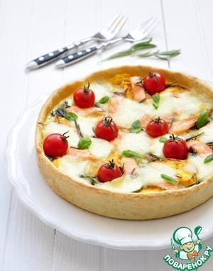 Рецепт Тарт с лососем, тыквой, шпинатом и моцареллой