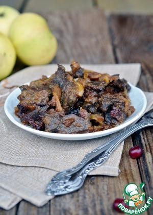 Рецепт Печень с яблоками и брусникой