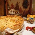 Открытый пирог с ливером и капустой