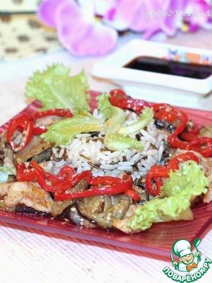 Рецепт Свинина c баклажаном и рисом по-пекински