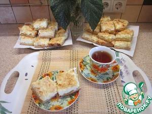 Рецепт Творожно-персиковый пирог с миндальной посыпкой
