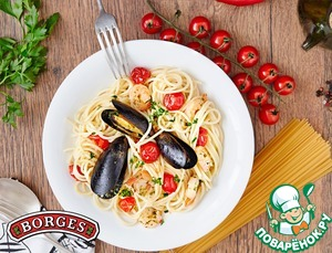 Рецепт Спагетти с морепродуктами и томатами черри