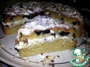 Рецепт Черничный бисквит с творожным кремом (в мультиварке)
