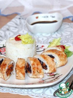 Рецепт Куриные рулетики с овощами и рисом
