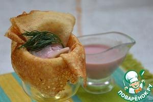 Рецепт Сельдь под соусом из хрена и клюквы