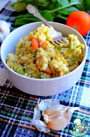 Рецепт Рис с индейкой, брокколи и томатами в сырном соусе