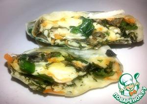 Рецепт Рулет из лаваша с грибами и зеленым луком