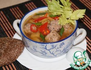 Рецепт Овощной суп с китайской капустой, имбирем и фрикадельками