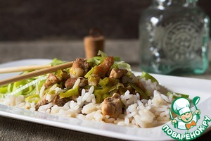 Рецепт Карбонад с луком-пореем и зеленым болгарским перцем