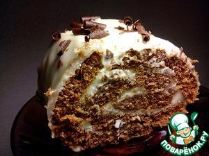 Рецепт: Шоколадный рулет с заварным кремом