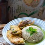 Свинина с киви под сырной корочкой и рисом