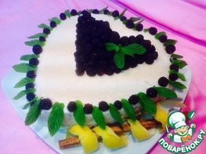 """Рецепт Торт-суфле """"Ежевичный"""" по мотивам испанского """" tarta de arroz con leche"""""""
