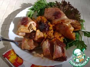 Рецепт Тушеные овощи со сливовым соусом D'arbo и куриными рулетиками в беконе