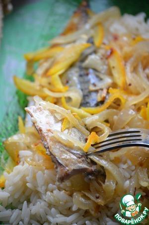 Рецепт Скумбрия в апельсиновом маринаде с рисом