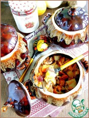Рецепт Жаркое с кроликом, белым вином, овощами и клюквенным соусом