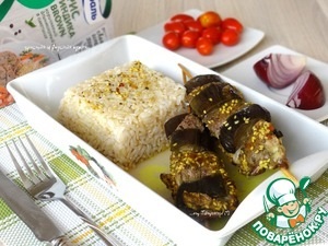 Рецепт Золотистые шпажки с бараниной и баклажанами