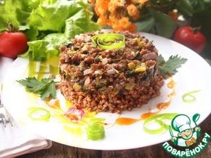 Рецепт Горячий мясной тартар на подушке из гречки