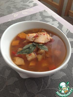 Рецепт Лёгкий суп из трески с тыквой в мультиварке