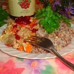 Воздушные тушеные овощи с курицей и брусничным соусом D'arbo