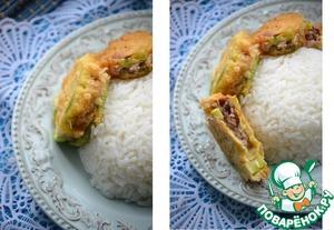 Рецепт Кабачки, фаршированные свининой, с рисом