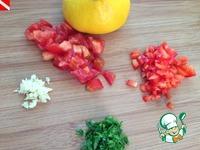 Филе хека, фаршированное песто, под красным соусом ингредиенты
