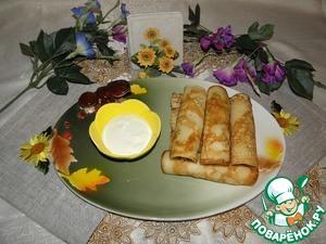Рецепт Блины с креветками и банановым соусом