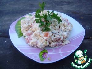 Рецепт Салат с плавленым сыром и сухариками
