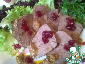 Рецепт Вырезка из говядины под брусничным соусом D'arbo