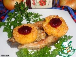 Рецепт Карп, запеченный с пшенными лепешками и клюквенным соусом D'arbo