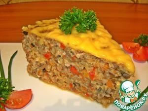 Рецепт Запеканка из гречки с фаршем, грибами и сыром