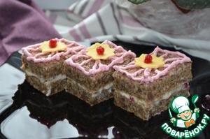 Рецепт Пирожное из ржаного хлеба с заварным кремом и ягодным соусом