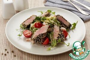 Рецепт Горячий салат с тунцом в кунжутной корочке
