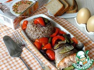 Рецепт Лосось, запеченный с овощами на шпинате