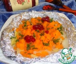 Рецепт Тыква запеченная в фольге с базиликом и брусничным соусом D'arbo