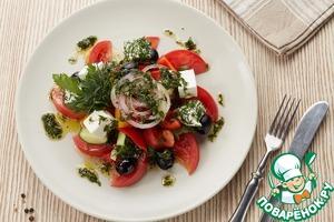Рецепт Греческий салат под оригинальной заправкой