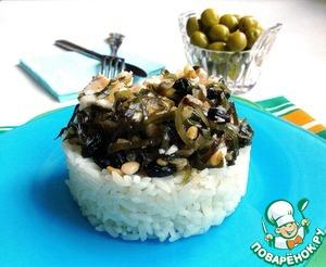 Рецепт Отварное филе трески с морской капустой