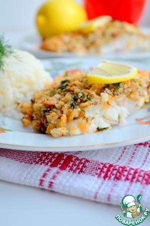 Рецепт Рыба под хлебной корочкой с орехами и сыром