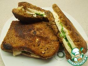 Рецепт Горячие тосты с брынзой и кинзой