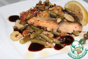 Рецепт Форель, запеченная с креветками и стручковой фасолью под пикантным соусом