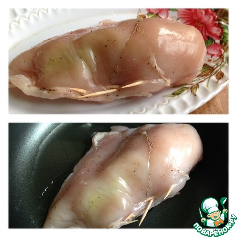 Рецепт с фото Жареная куриная грудка, фаршированная пореем и томатом #3