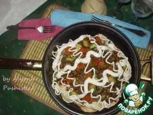 """Рецепт Нежный тёплый салат на хрустящем лаваше """"Нежность на двоих"""""""
