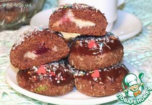 Рецепт Печенье шоколадное с кокосом и ягодой