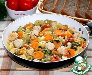 Рецепт Овощное рагу с чечевицей и куриными фрикадельками
